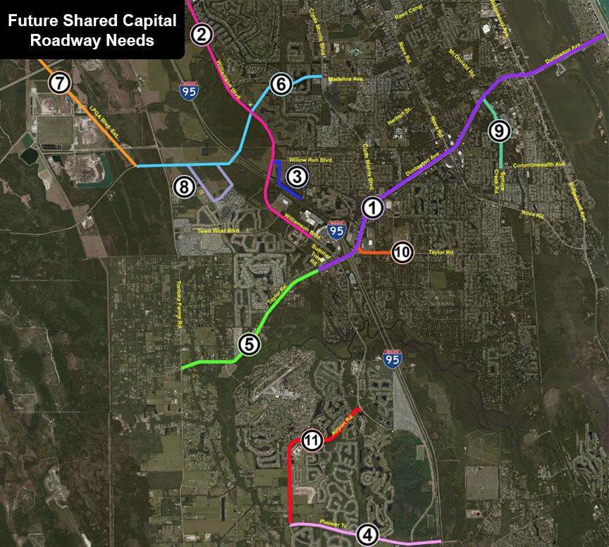 Future Shared Capital Roadway Needs - Click Here to View Larger Version of Map