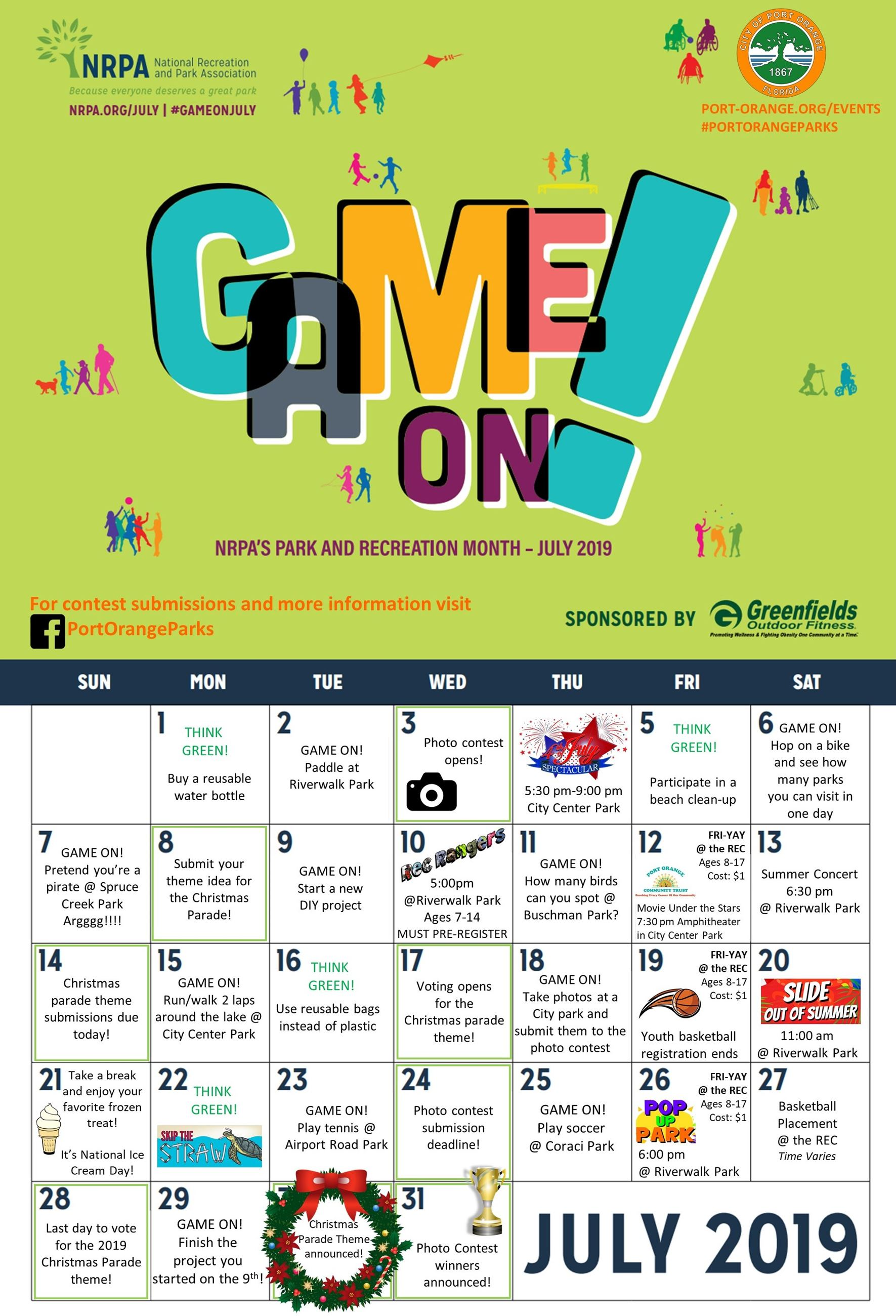 Parks and Rec Month calendar. Click on this image to view it as a PDF (OCR).