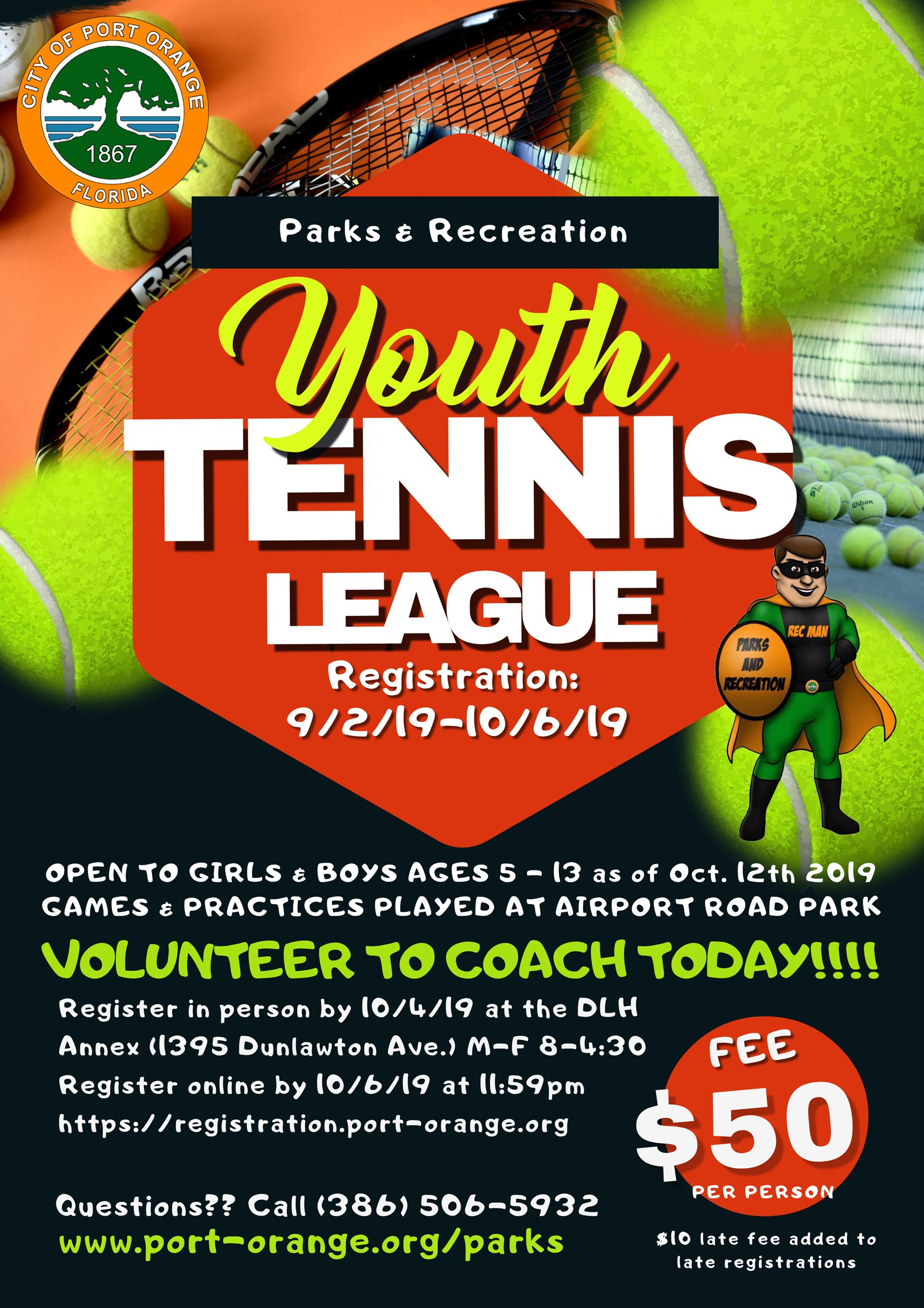 Fall 2019 Youth Tennis flyer. Call 385-506-5932 for more information.